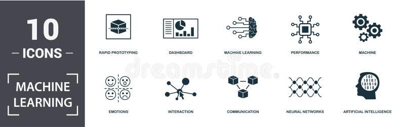 Ikonuppsättning för maskinutbildning Innehåller fylld platt maskininlärning, maskin, instrumentpanel, artificiell intelligens, kä stock illustrationer