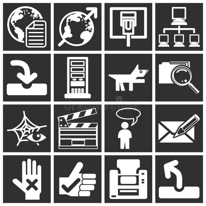 ikony żeby internet ilustracja wektor