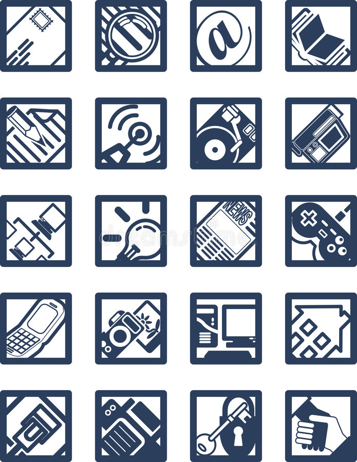 ikony żeby internet square ilustracji