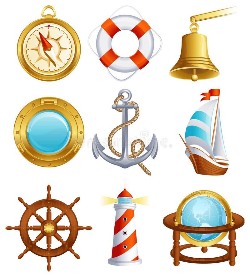 ikony żeglowanie royalty ilustracja
