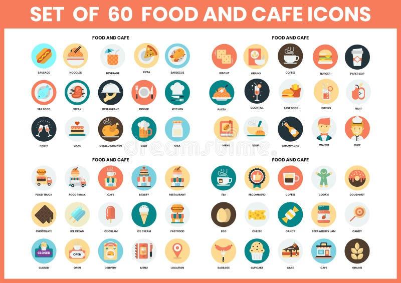 Ikony żywności i kawiarni przeznaczone dla przedsiębiorstw royalty ilustracja