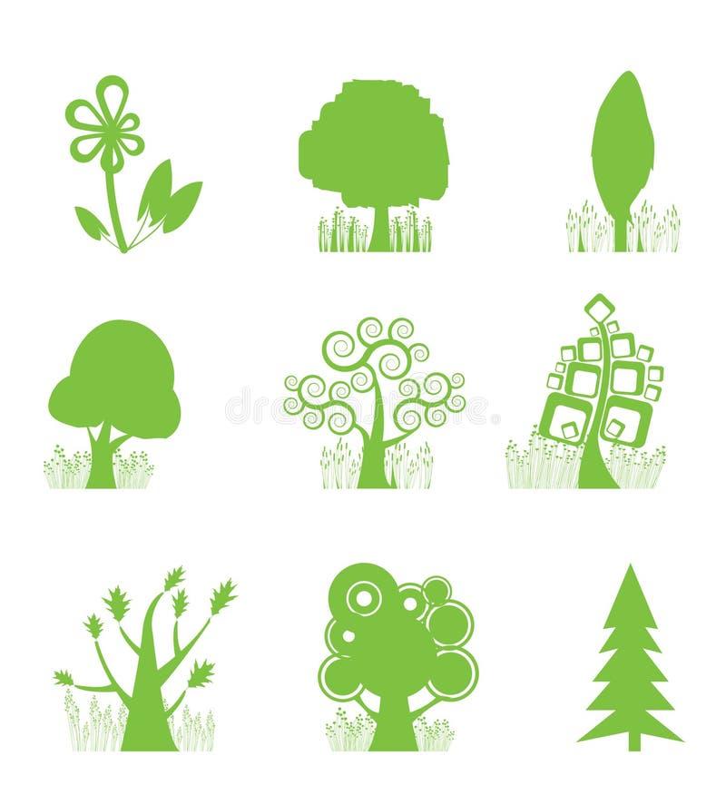 ikony abstrakcjonistyczny inkasowy drzewo ilustracja wektor