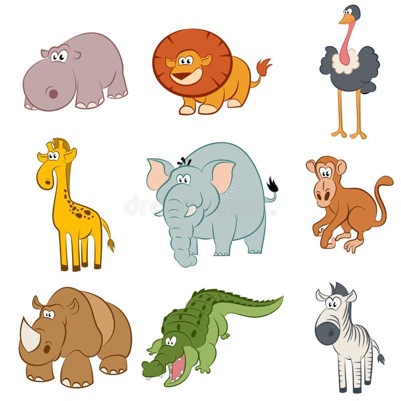 Ikony afrykańscy zwierzęta royalty ilustracja