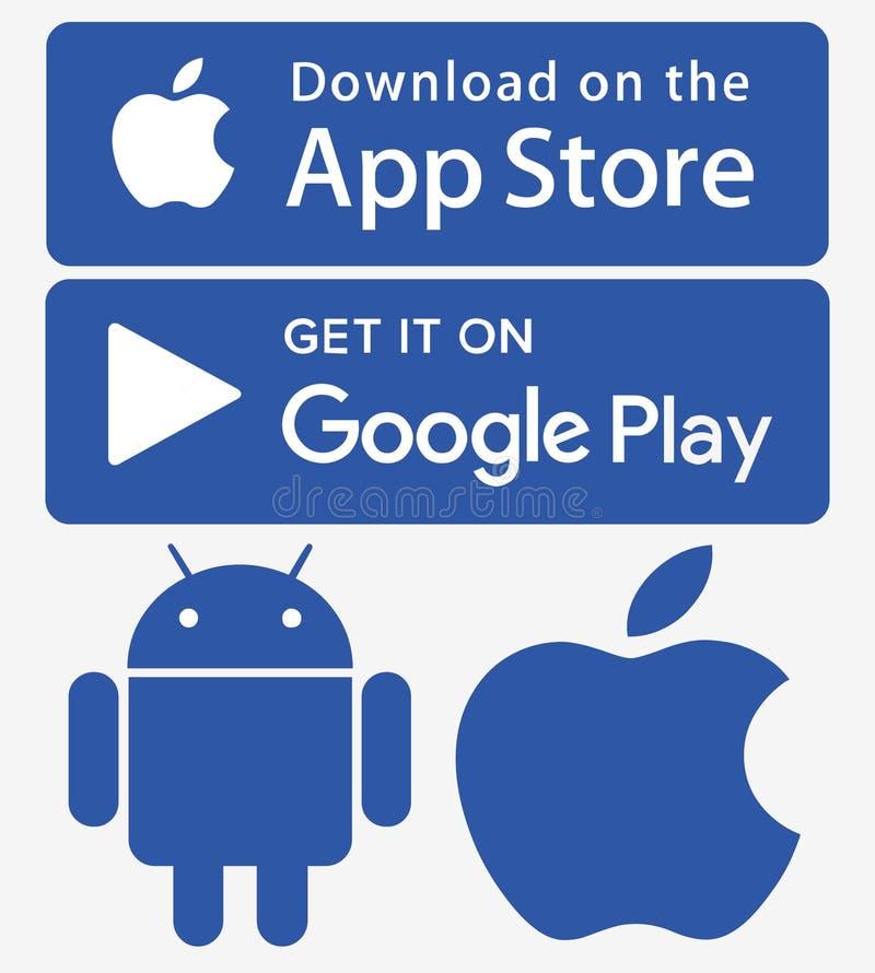Ikony app sklepu Google sztuki iphone android ilustracji