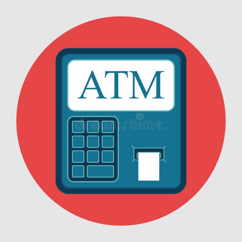Ikony ATM wycofania od karty, płaski projekt, pieniężna pojemność ilustracja wektor