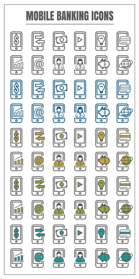 Ikony bankowości koloru mobilnego wektorowego czerni błękitna Żółta zieleń na whi ilustracji