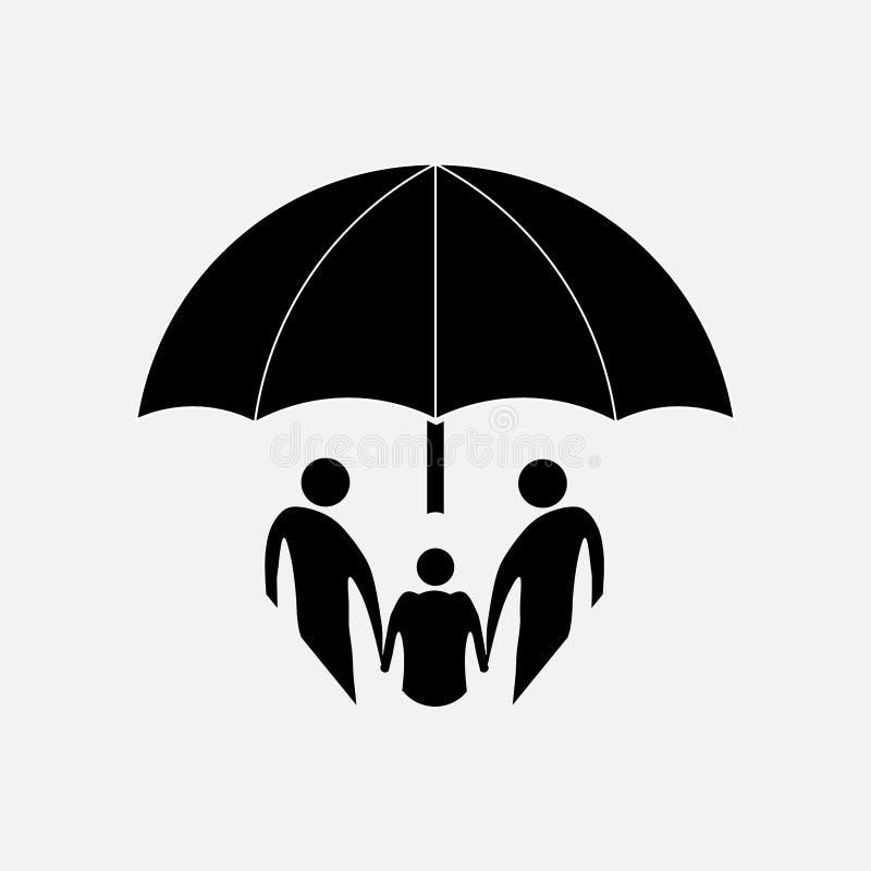 Ikony bezpieczeństwo rodzina, ubezpieczenie na życie ilustracja wektor
