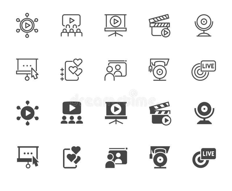 Ikony biznesu i nauczania online temat Nowożytne technologie, online konferencje, webinars i stażowi pojęcie znaki, ilustracja wektor