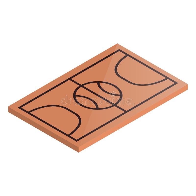 Ikony boiska koszykówka w isometric, wektorowej ilustraci, ilustracja wektor