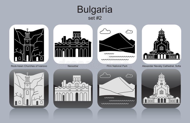 Ikony Bułgaria ilustracja wektor
