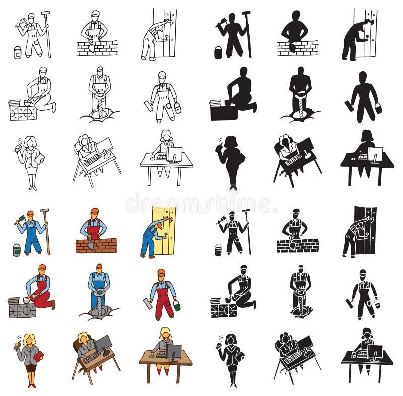 Ikony budowniczy i sekretarka ilustracji