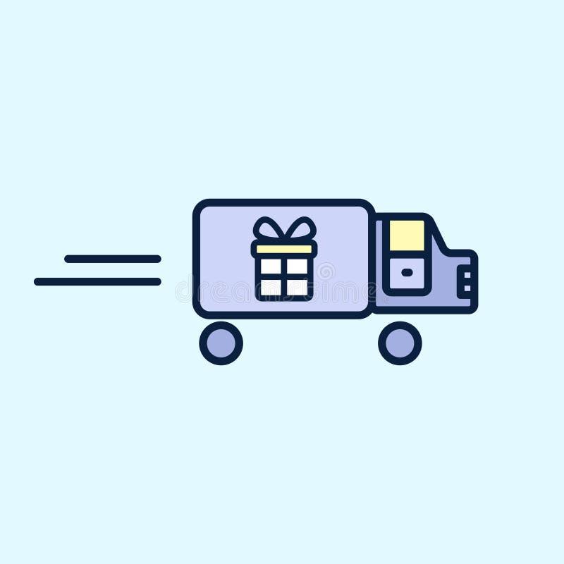 Ikony ciężarówka niesie prezenta pudełko Dostawa, wysyła Wektorowy ilustracyjny płaski projekt ilustracja wektor