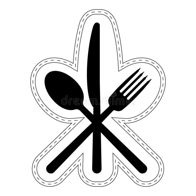Ikony Cutlery restauracyjny catering, wektorowa ikona krzyżujący łyżkowy rozwidlenie nóż, logo majcheru szyldowego fasta food noż ilustracja wektor