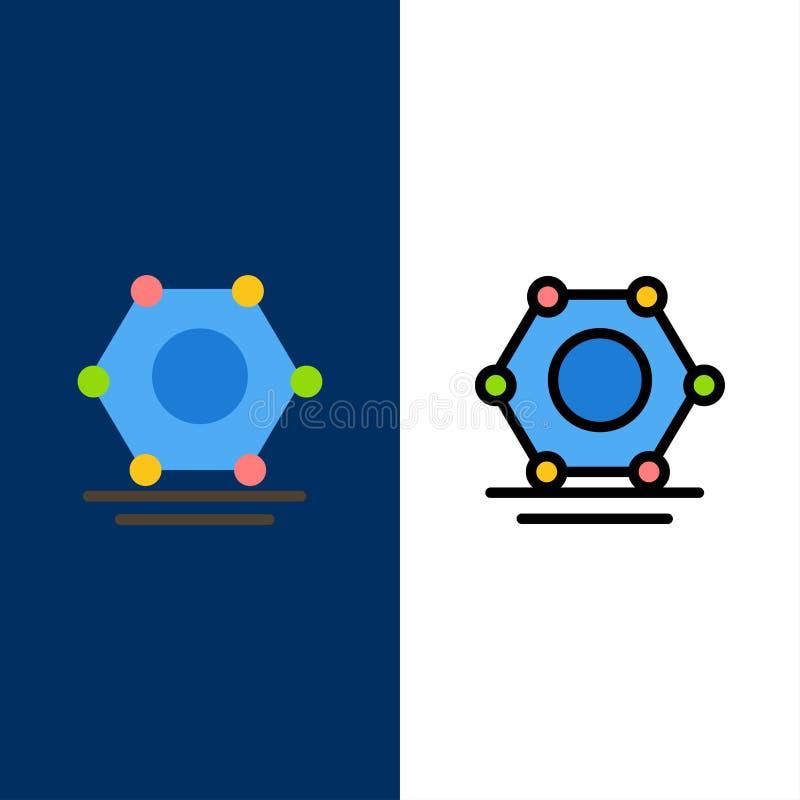 Ikony cyfrowe, sieciowe, hiperłącza Ikona z wypełnieniem płaskim i liniowym ustawia niebieskie tło wektorowe royalty ilustracja