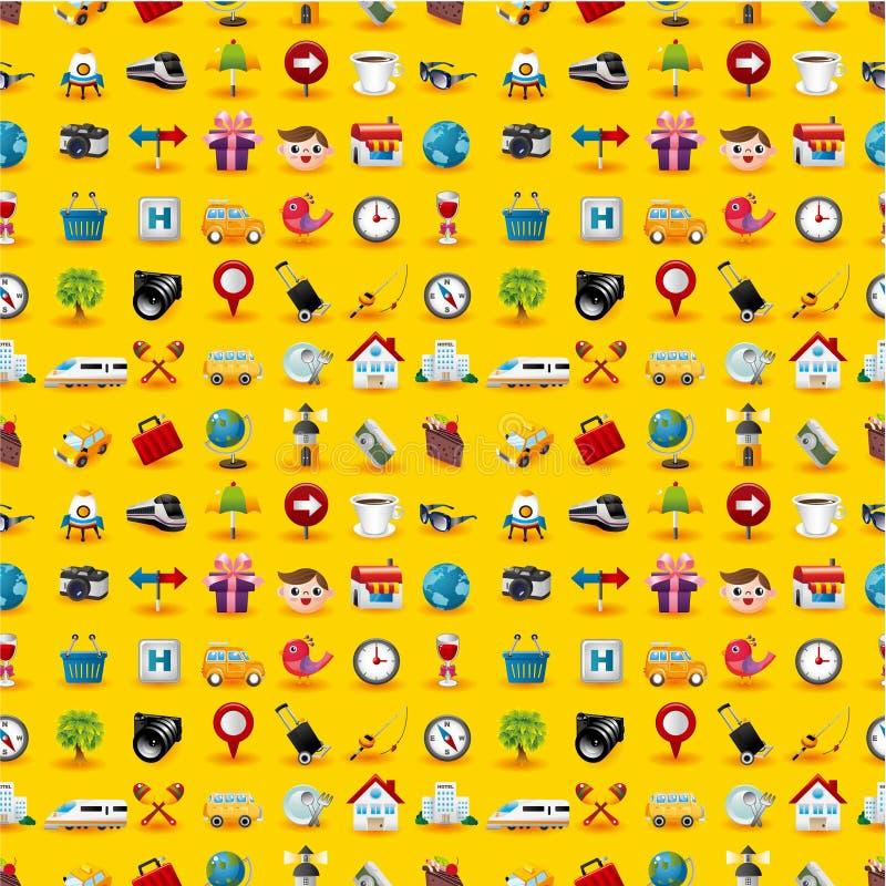 ikony deseniują podróży bezszwowego kolor żółty royalty ilustracja