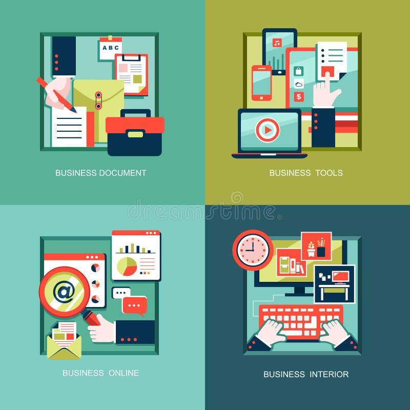 Ikony dla biznesowych narzędzi, dokumenty w płaskim projekcie royalty ilustracja