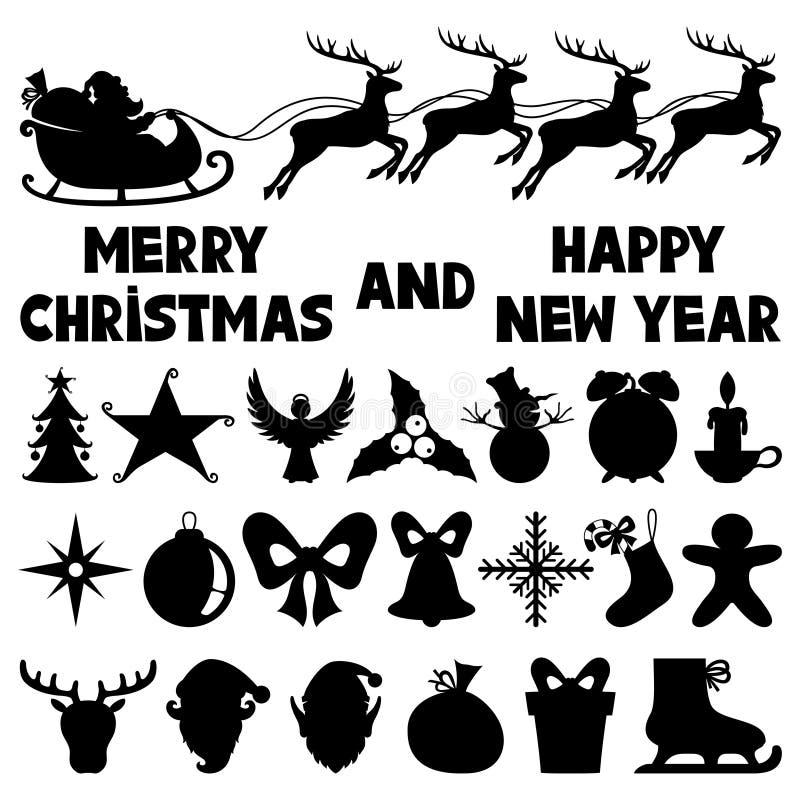 Ikony dla bożych narodzeń i nowego roku royalty ilustracja