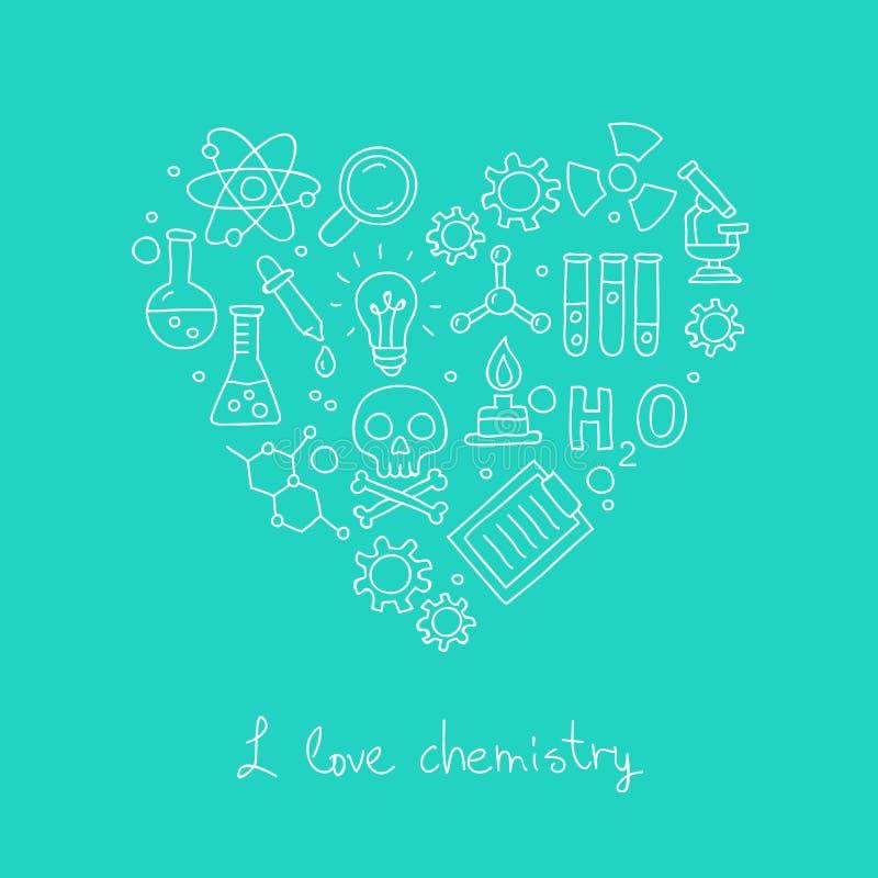 Ikony dla chemii w postaci serca royalty ilustracja