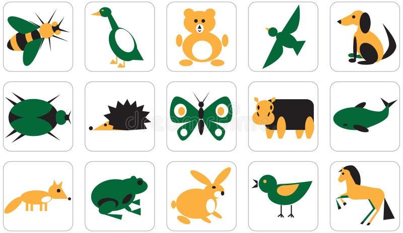 Ikony dla geometrycznych zwierzę insektów, ptaków i ilustracja wektor