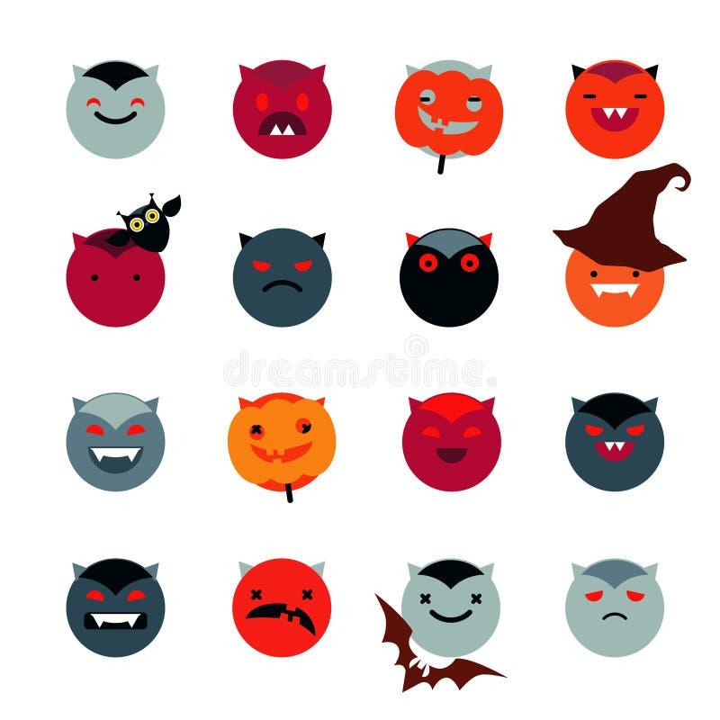 Ikony dla Halloween - bania, wampir, diabeł, nietoperz, kapelusz, sowa, potwór Origami stylu ikony set również zwrócić corel ilus ilustracja wektor