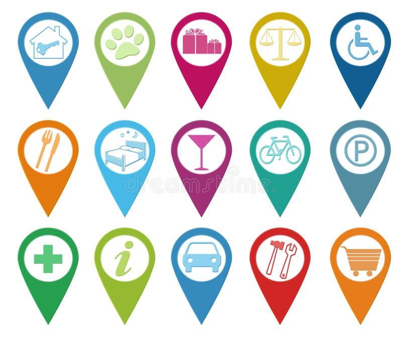 Ikony dla markierów na mapach ilustracja wektor