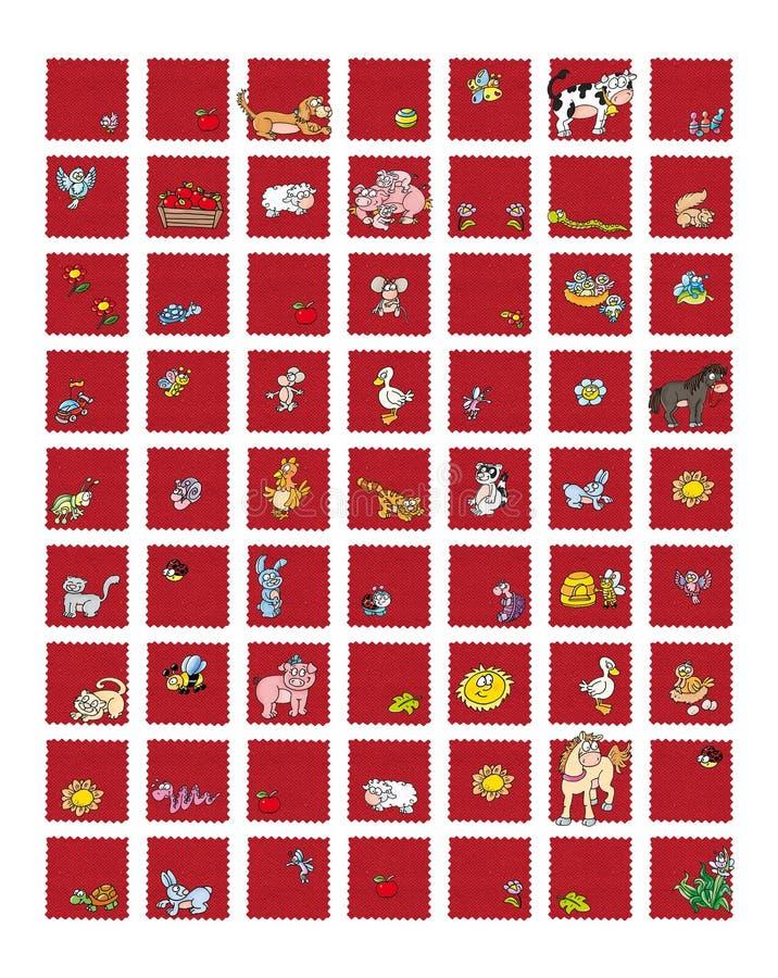 Ikony dla miejsc i zwierzęcego jedzenia dojna krowa z kurnych jajek pszczołą z miodowym królikiem, baranimi jabłko świniami i pta royalty ilustracja