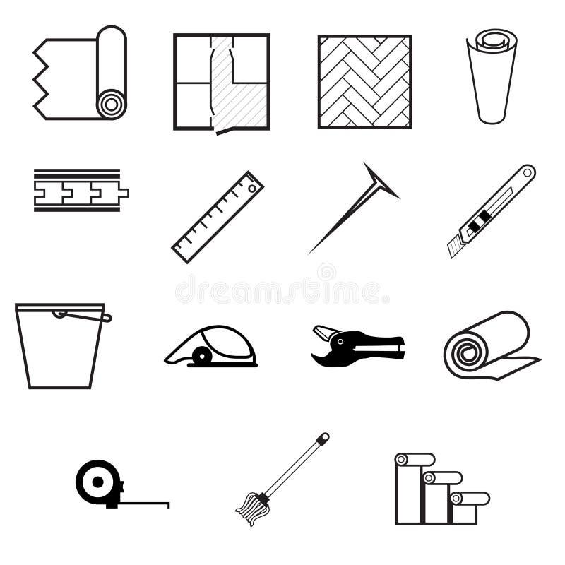 Ikony dla pracować z linoleumem ilustracji
