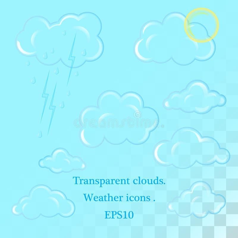 Ikony dla prognoza pogody przy sieci? lub widget Dżdżysta chmura, płatek śniegu, słońce, śnieg i błyskawica, Gorąca, zimna, jasna royalty ilustracja