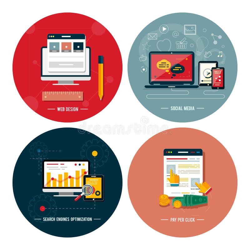 Ikony dla sieć projekta, seo, ogólnospołeczni środki ilustracja wektor