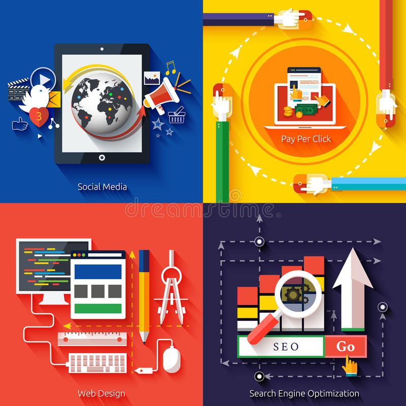 Ikony dla sieć projekta, seo, ogólnospołeczni środki royalty ilustracja