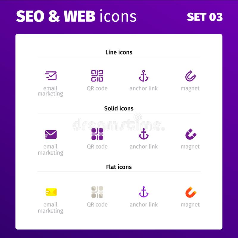 Ikony dla sieci i seo zastosowań ilustracja wektor