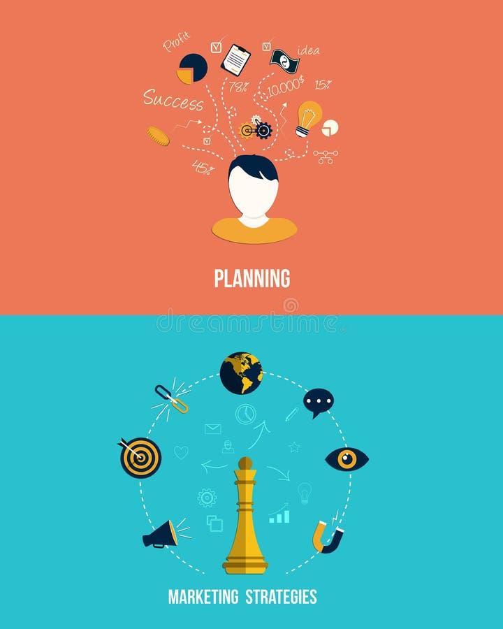 Ikony dla strategii marketingowych i planowania ilustracja wektor