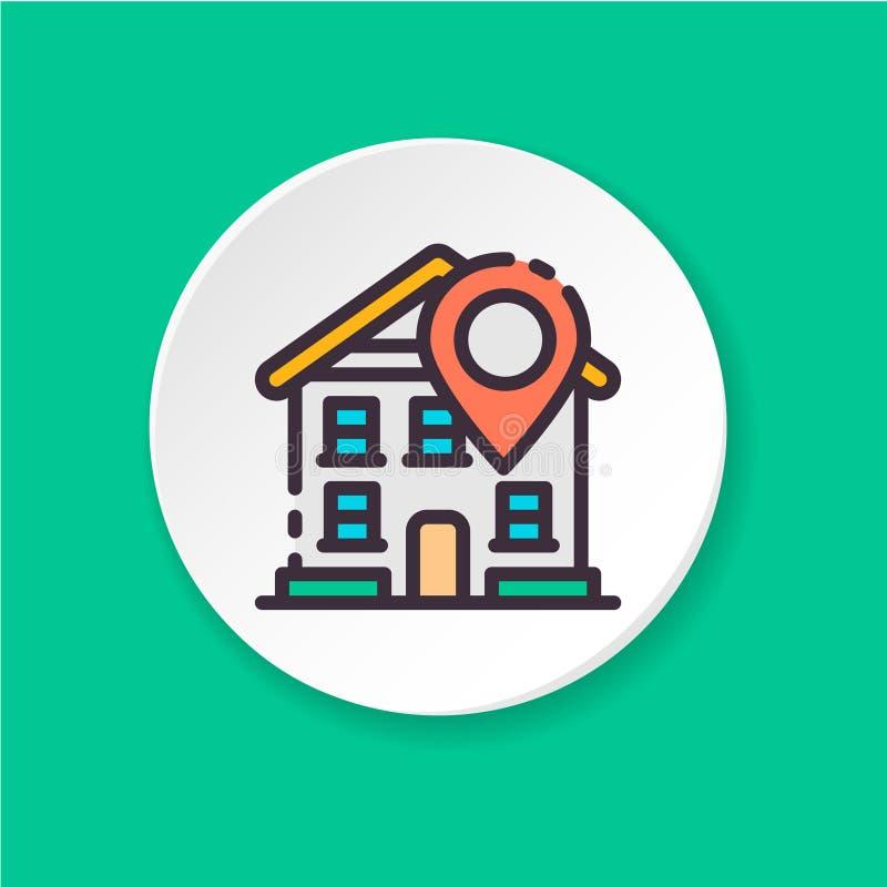Ikony domowa lokacja Guzik dla sieci app lub wiszącej ozdoby UI/UX interfejs użytkownika ilustracja wektor