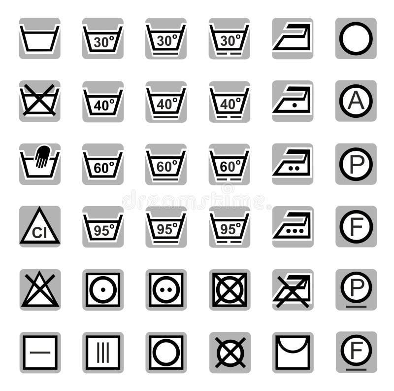 Ikony, domycie, bielący, suszący, Odprasowywający, suchy cleaning ilustracji