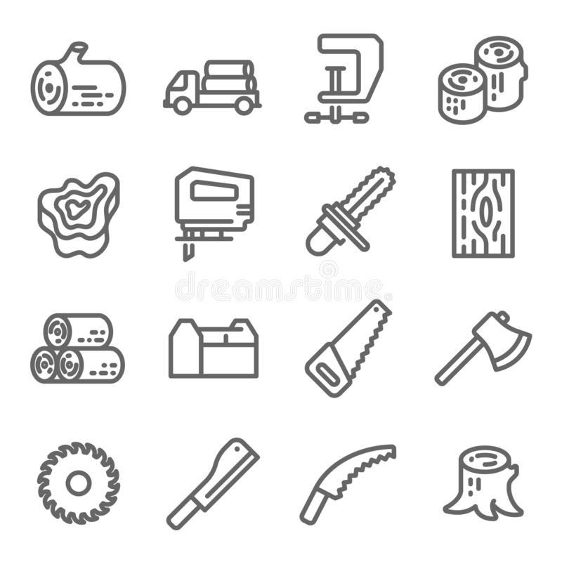 ikony drewniany ustalony Zawiera taki ikony jak piłę łańcuchową, belę, cioskę i więcej, Rozprężony uderzenie ilustracja wektor