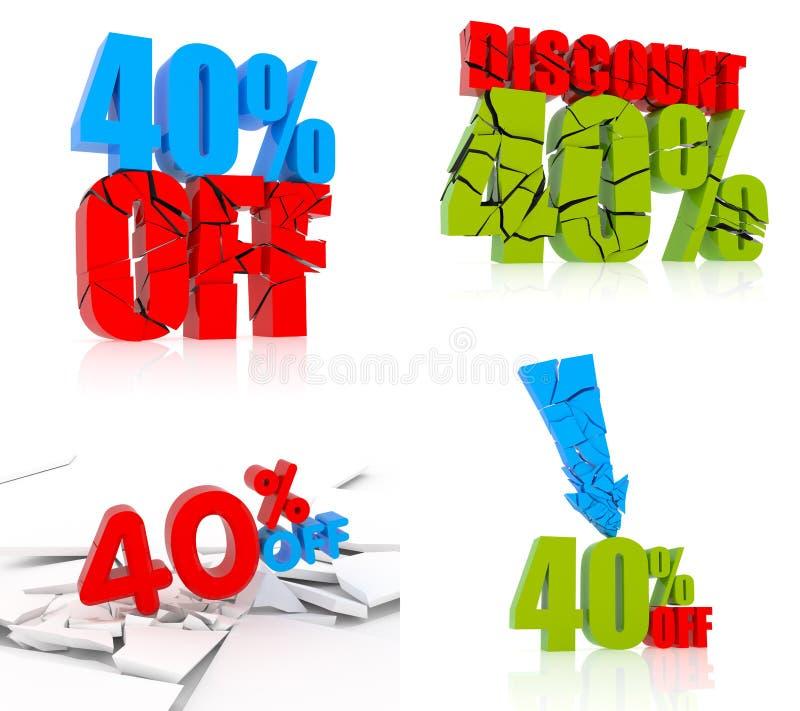 40% ikony dyskontowy set royalty ilustracja