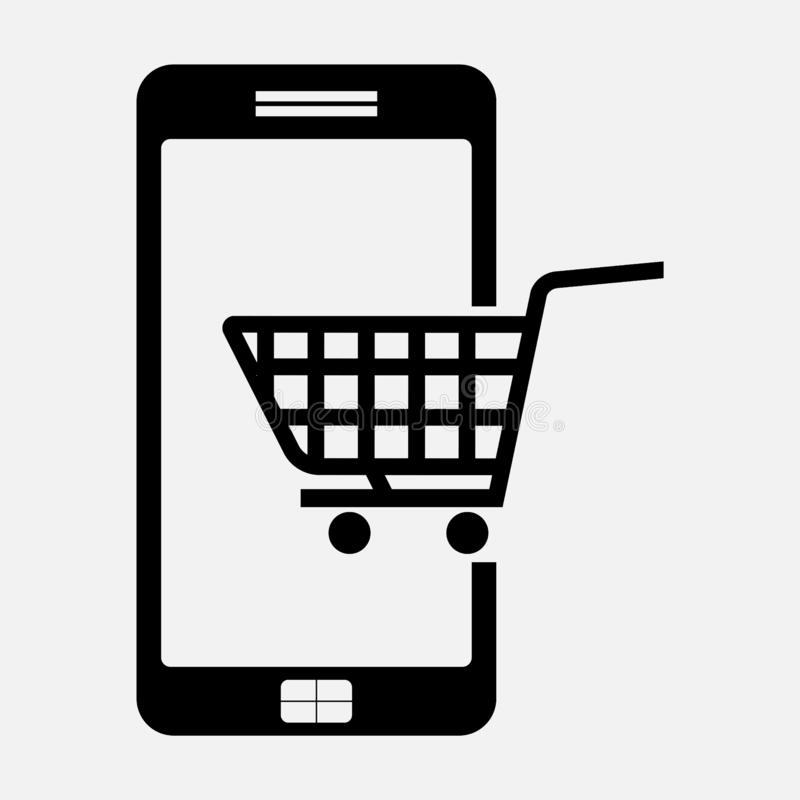 Ikony e handel, kupuje telefon ilustracji