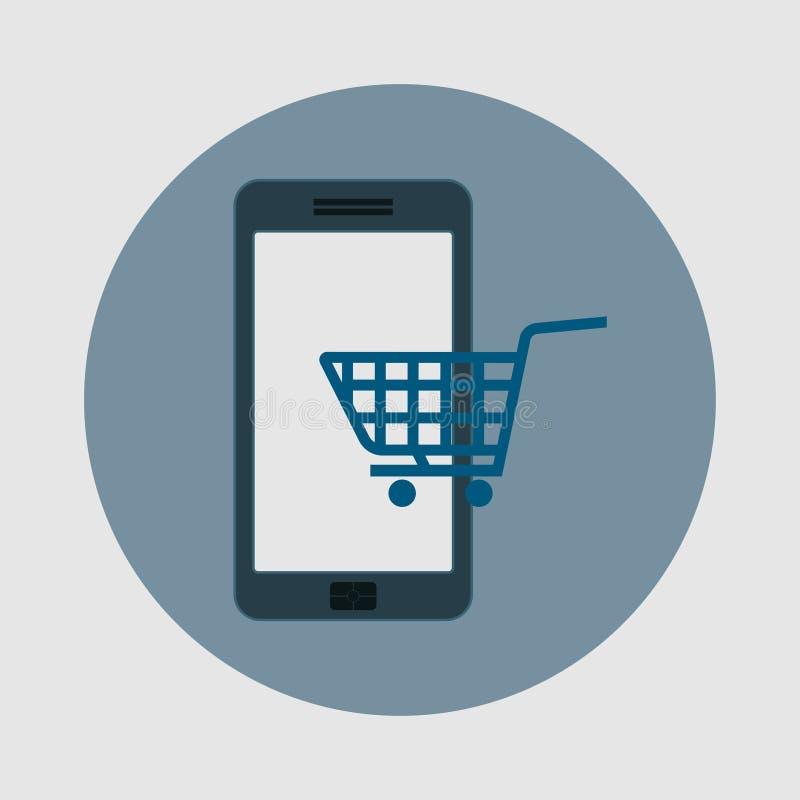 Ikony e handel, kupuje telefon, płaski projekt ilustracji