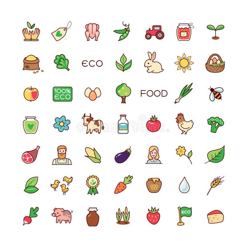 Ikony eco jedzenie royalty ilustracja