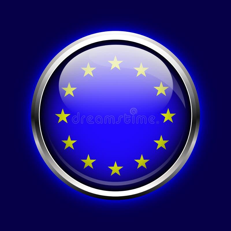 Ikony Europejski zjednoczenie. UE flaga guzik royalty ilustracja