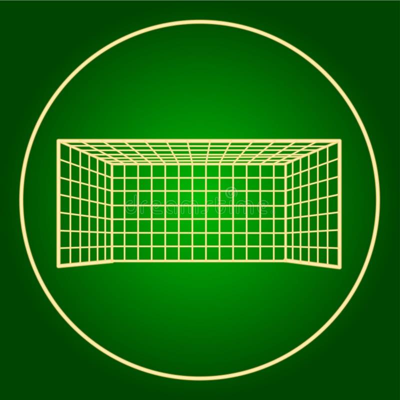 Ikony futbolowa brama w neonowym okręgu ilustracja wektor