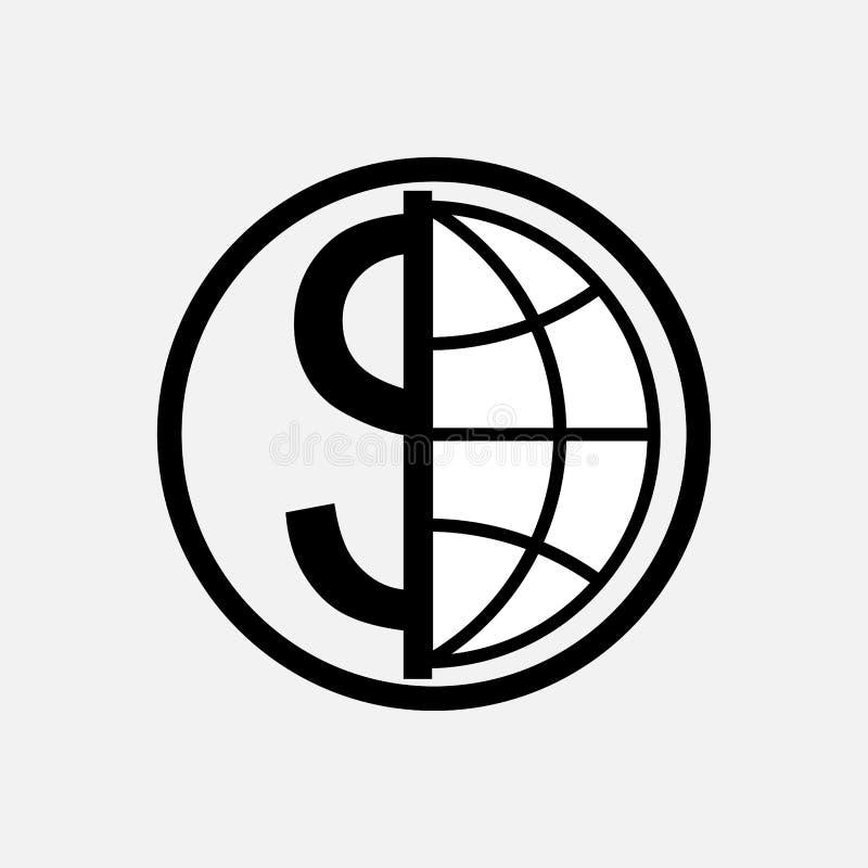 Ikony globalna waluta, pieniądze, kula ziemska royalty ilustracja