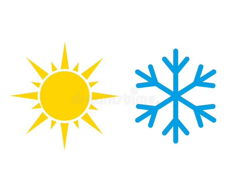 Ikony gorącego i zimnego słońca i płatka śniegu Wektor ilustracji
