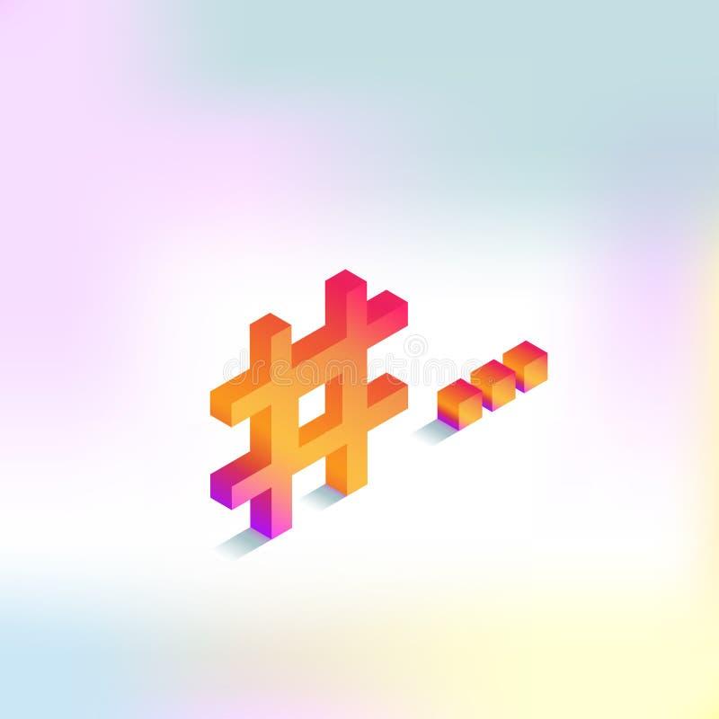 Ikony hashtag dla ogólnospołecznych sieci isometric royalty ilustracja