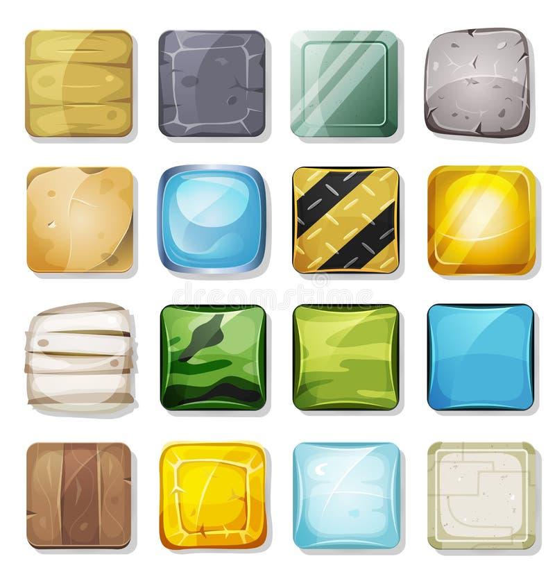 Ikony I guziki Ustawiający Dla wiszącej ozdoby App I Gemowy Ui royalty ilustracja