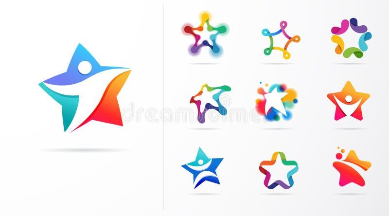 Ikony i logo gwiazdy, fitness, sportu, doskonałości, nauki i projektowania Konstrukcja wektorowa ilustracji