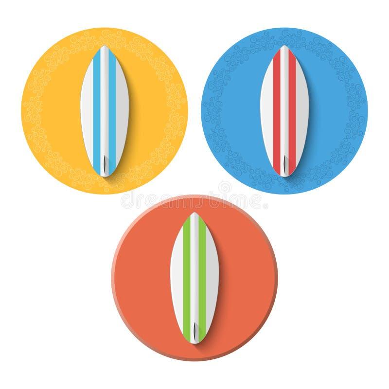 Ikony i sztandary dla strony internetowej Set kipieli deski różni kolory Piękny wzór wokoło sztandaru Wektorowy illustrat royalty ilustracja