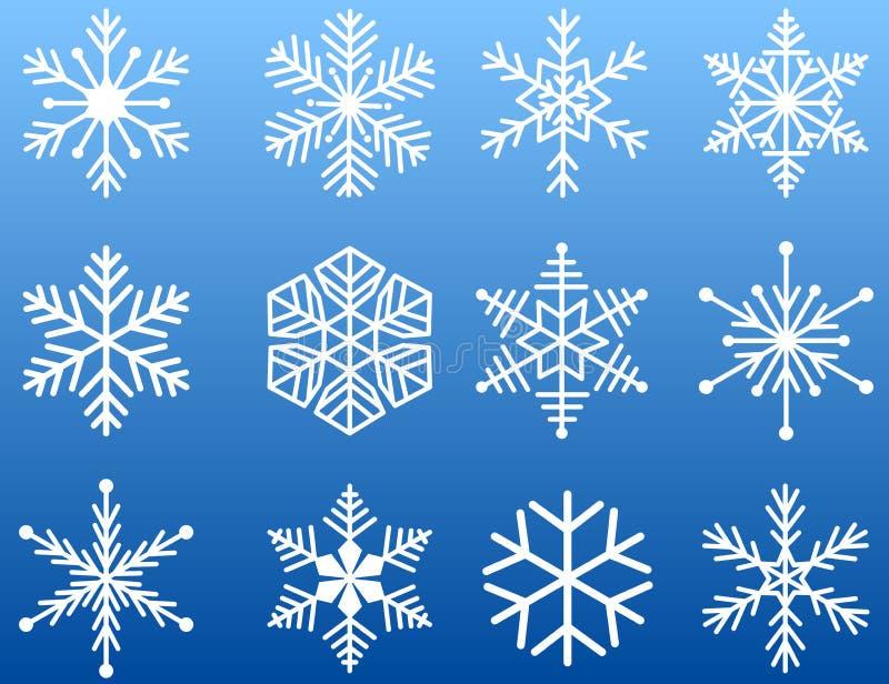 ikony ilustracyjny odosobniony ustalony płatka śniegu wektoru biel ilustracja wektor