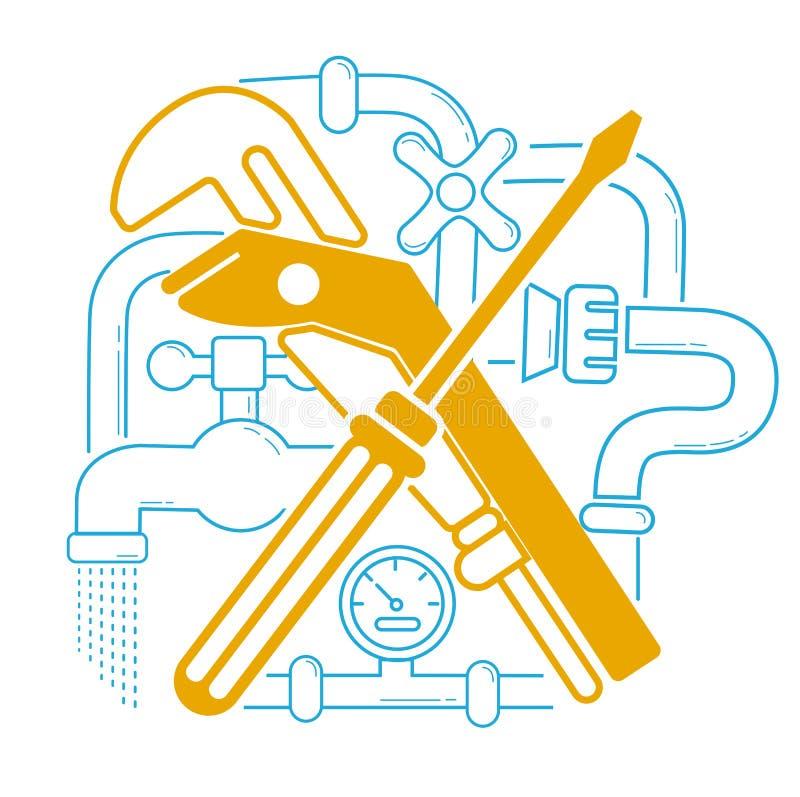 Ikony instalacja wodnokanalizacyjna w liniowym ilustracji