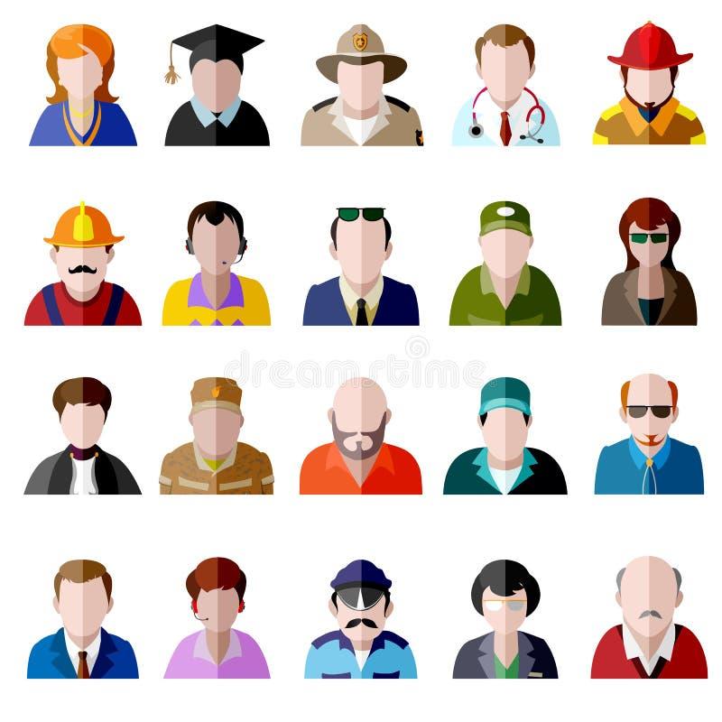 ikony jeden ludzie osoby ustalonej użytkownika pracy Mężczyzna i kobiet avatar mieszkania ikony ilustracji